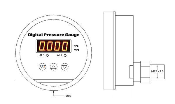 ESG102 Digital Display Pressure Gauge drawing