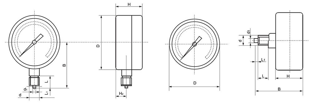 ESG501 Economical Pressure Gauge drawing